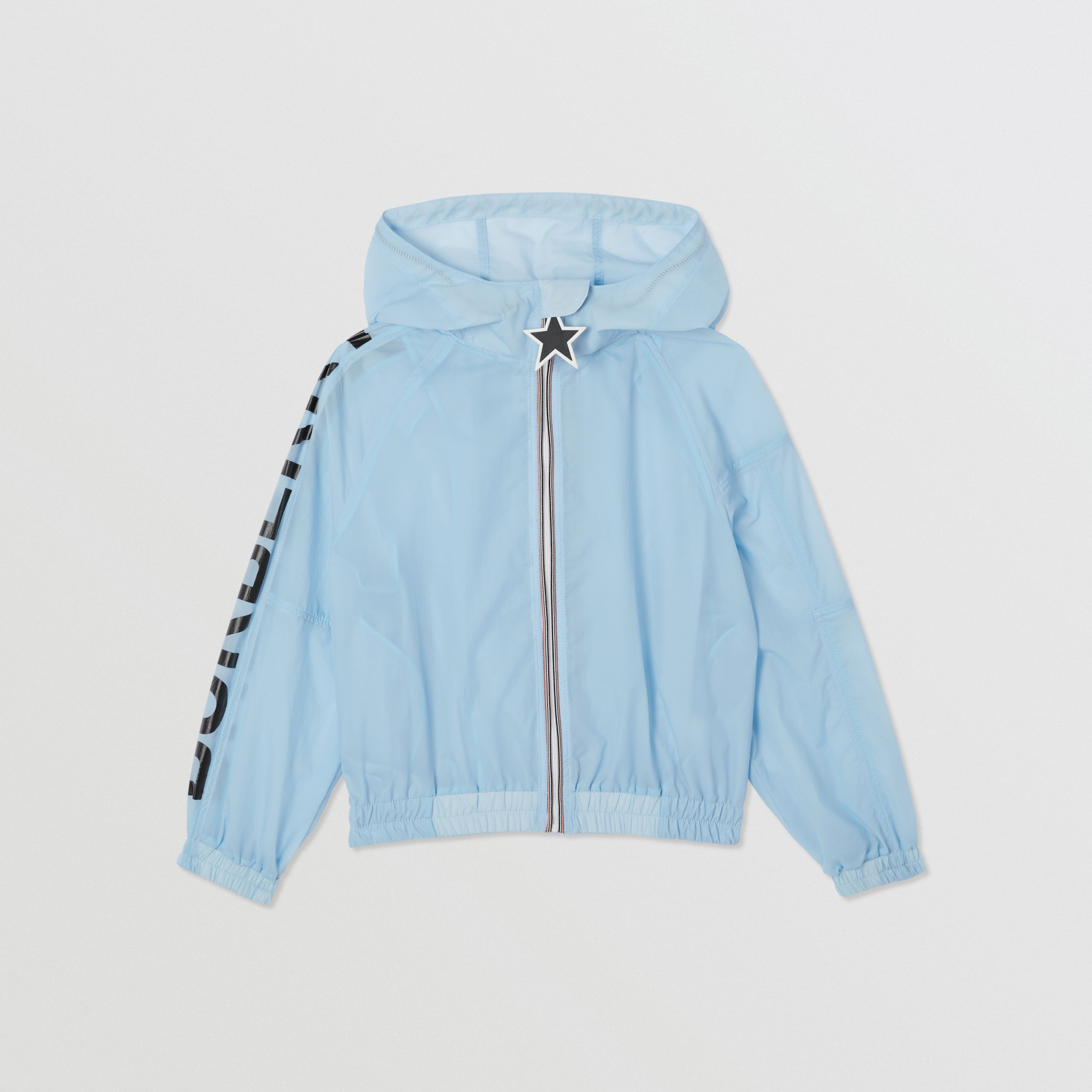 Star Detail Logo Print Lightweight Hooded Jacket in Light Blue | Burberry - 1
