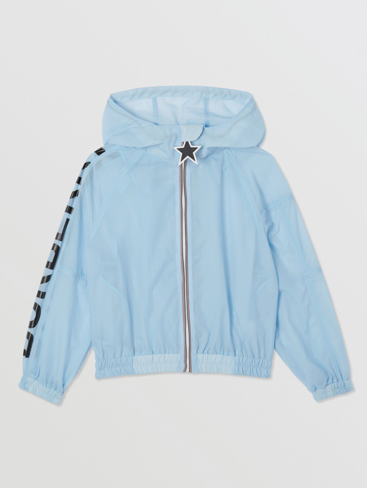 Star Detail Logo Print Lightweight Hooded Jacket (Light Blue)