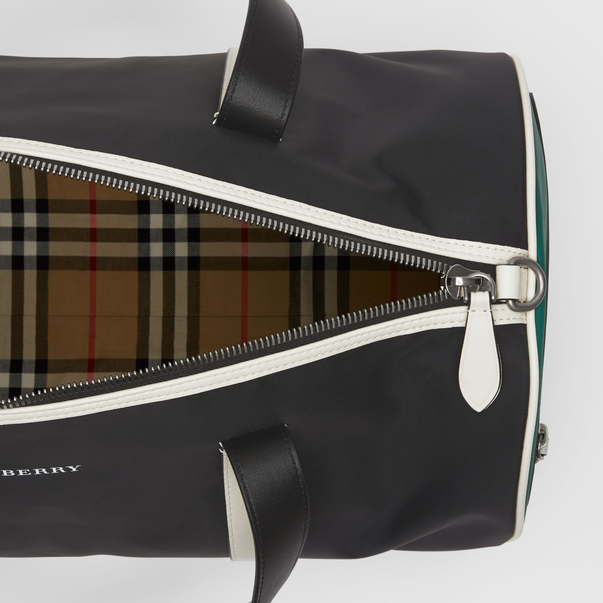 Medium Tri-tone Nylon and Leather Barrel Bag in Black - Men | Burberry - gallery image 5