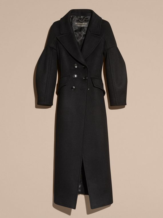 Black Puff-sleeved Wool Coat - cell image 3