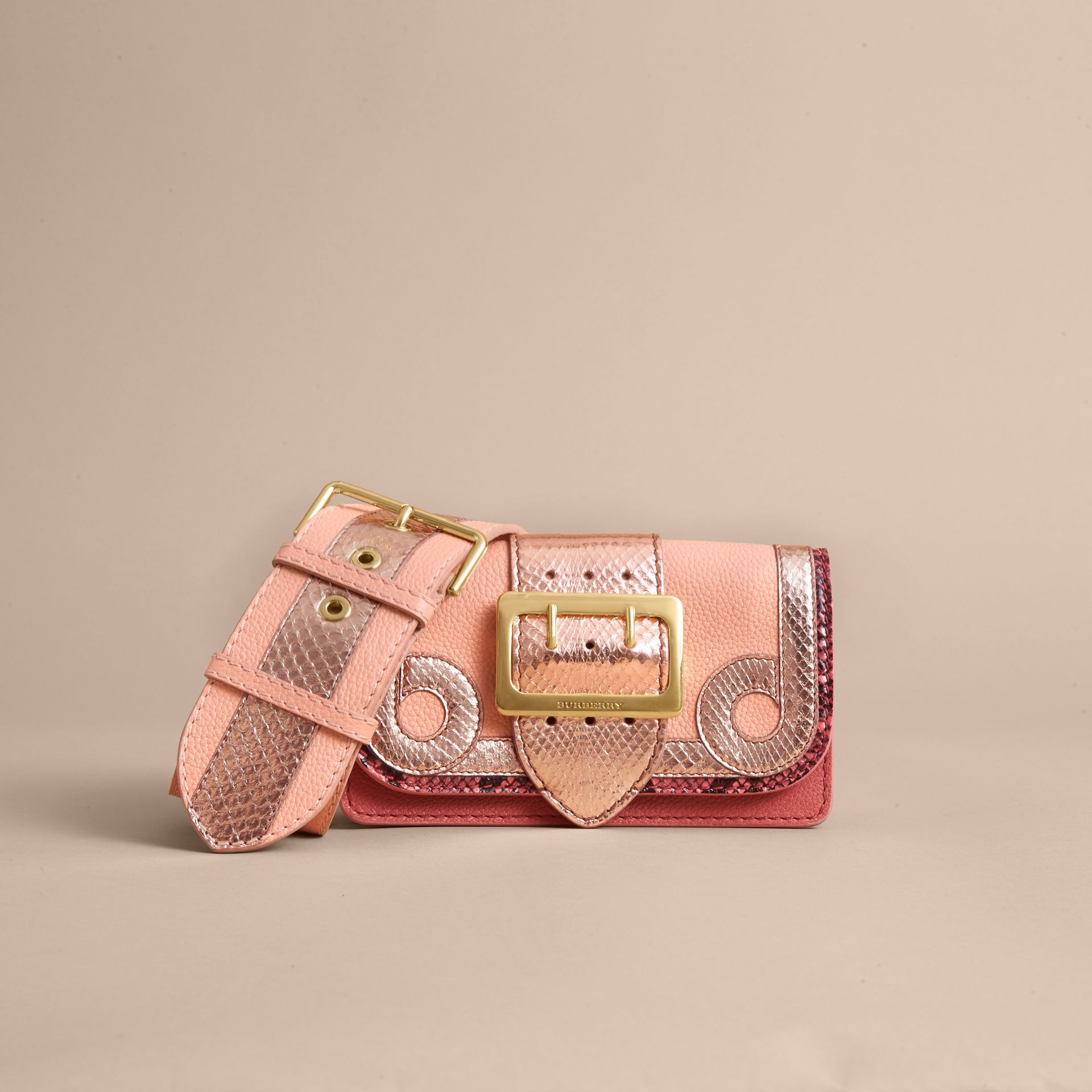 The Patchwork in Grainy Leather and Snakeskin in Pink - Women | Burberry - gallery image 6