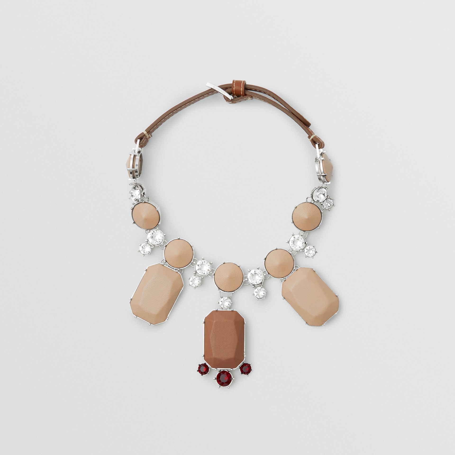 Glass, Crystal and Leather Drop Necklace in Malt Brown/honey - Women | Burberry Australia - gallery image 0
