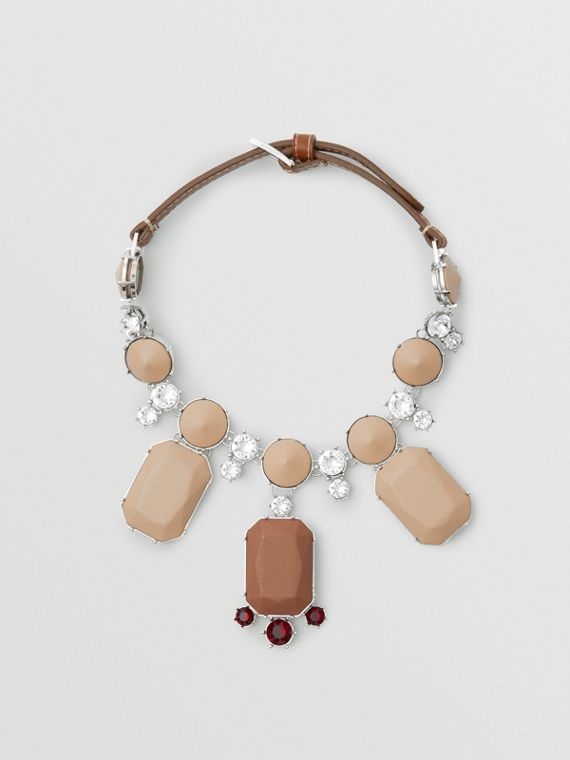 Glass, Crystal and Leather Drop Necklace in Malt Brown/honey