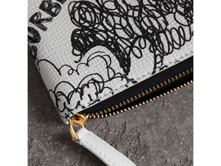 Doodle Print Leather Ziparound Wallet in White - Men | Burberry United Kingdom - cell image 1