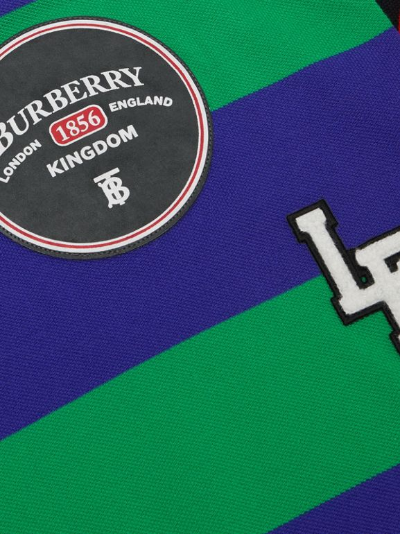 Logo Graphic Striped Cotton Piqué Polo Shirt in Multicolour | Burberry Canada - cell image 1