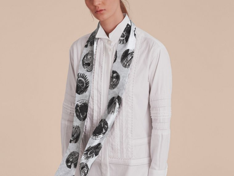 Pallas Heads Print Silk Slim Scarf in Grey - Women | Burberry Singapore - cell image 2