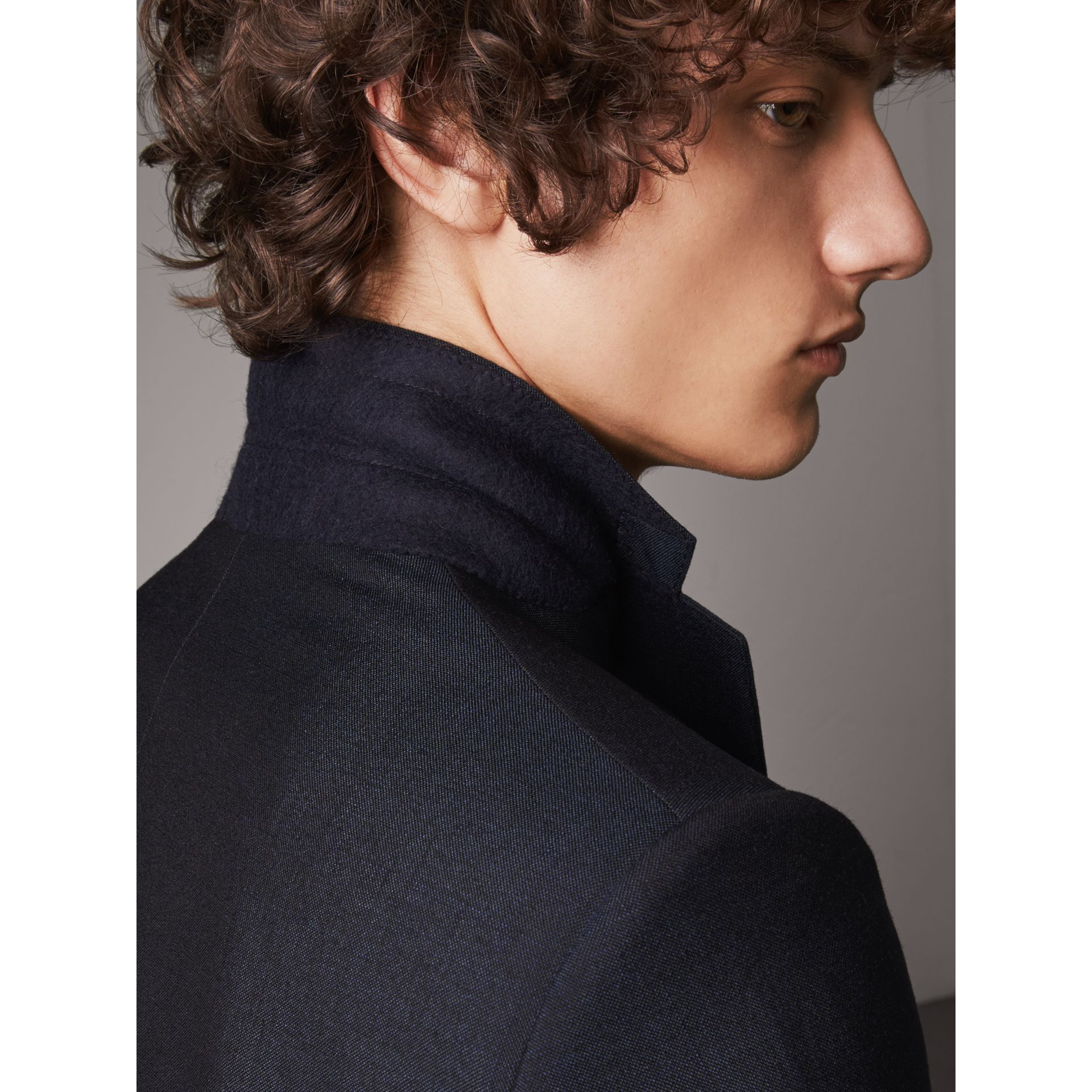 Slim Fit Mohair Half-canvas Suit in Navy - Men | Burberry - gallery image 1