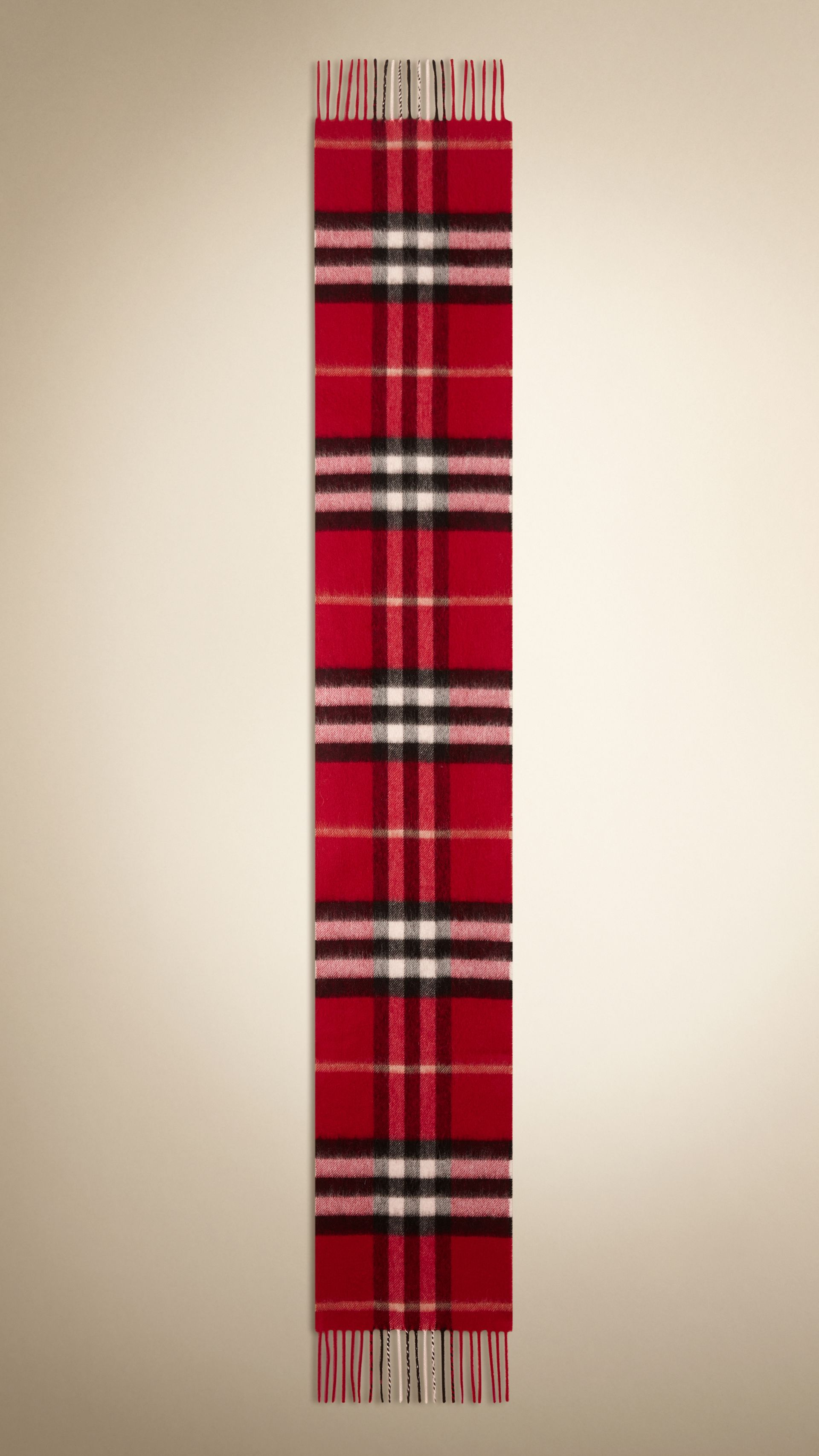 Check Cashmere Scarf in Parade Red | Burberry United States - gallery image 1