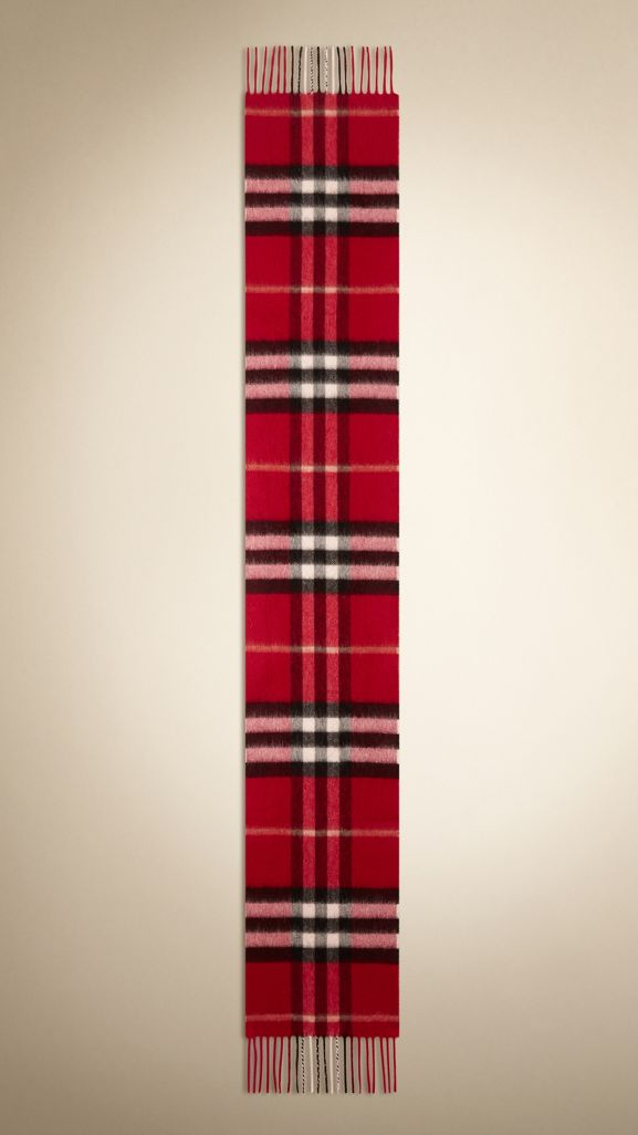 Check Cashmere Scarf in Parade Red | Burberry United States - cell image 1