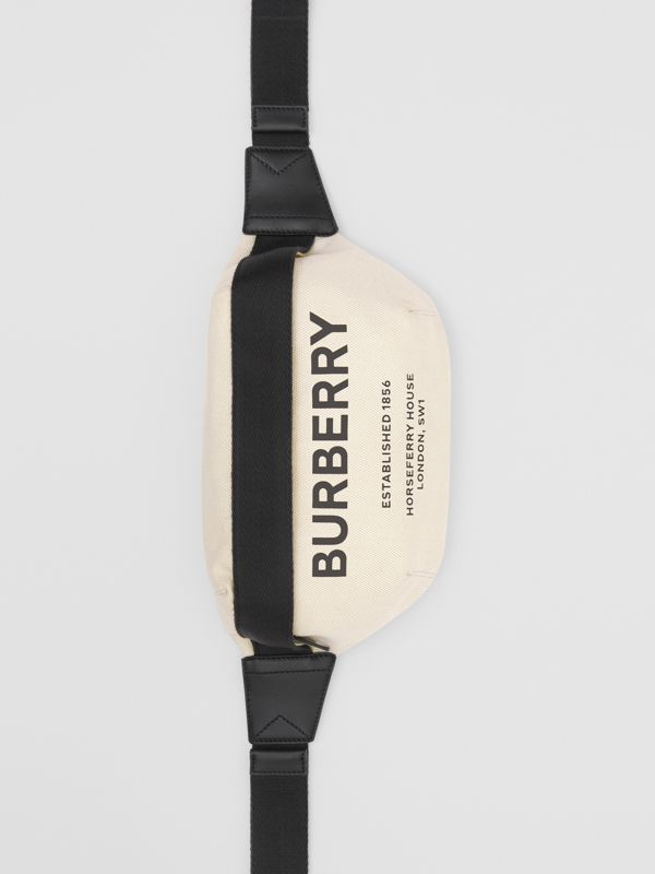 Medium Horseferry Print Cotton Canvas Bum Bag in Natural/black | Burberry - cell image 3
