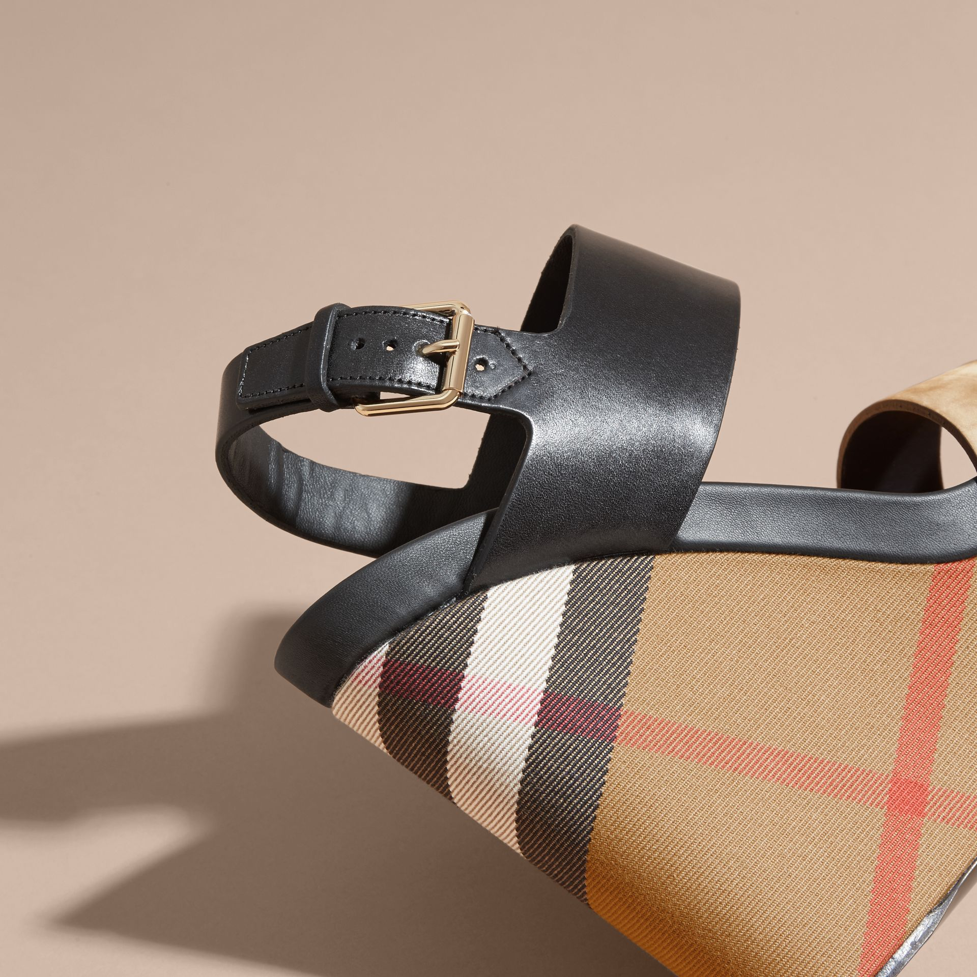 House Check Leather and Calf Suede Platform Wedges - Women | Burberry - gallery image 2
