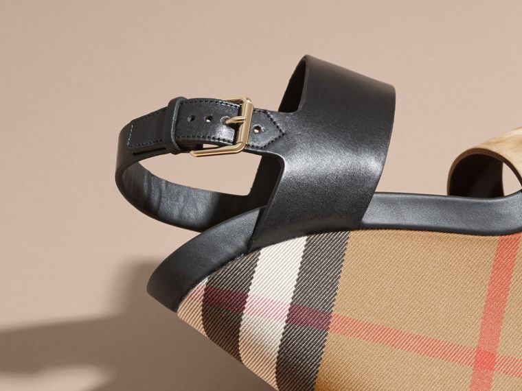 House Check Leather and Calf Suede Platform Wedges - Women | Burberry - cell image 1