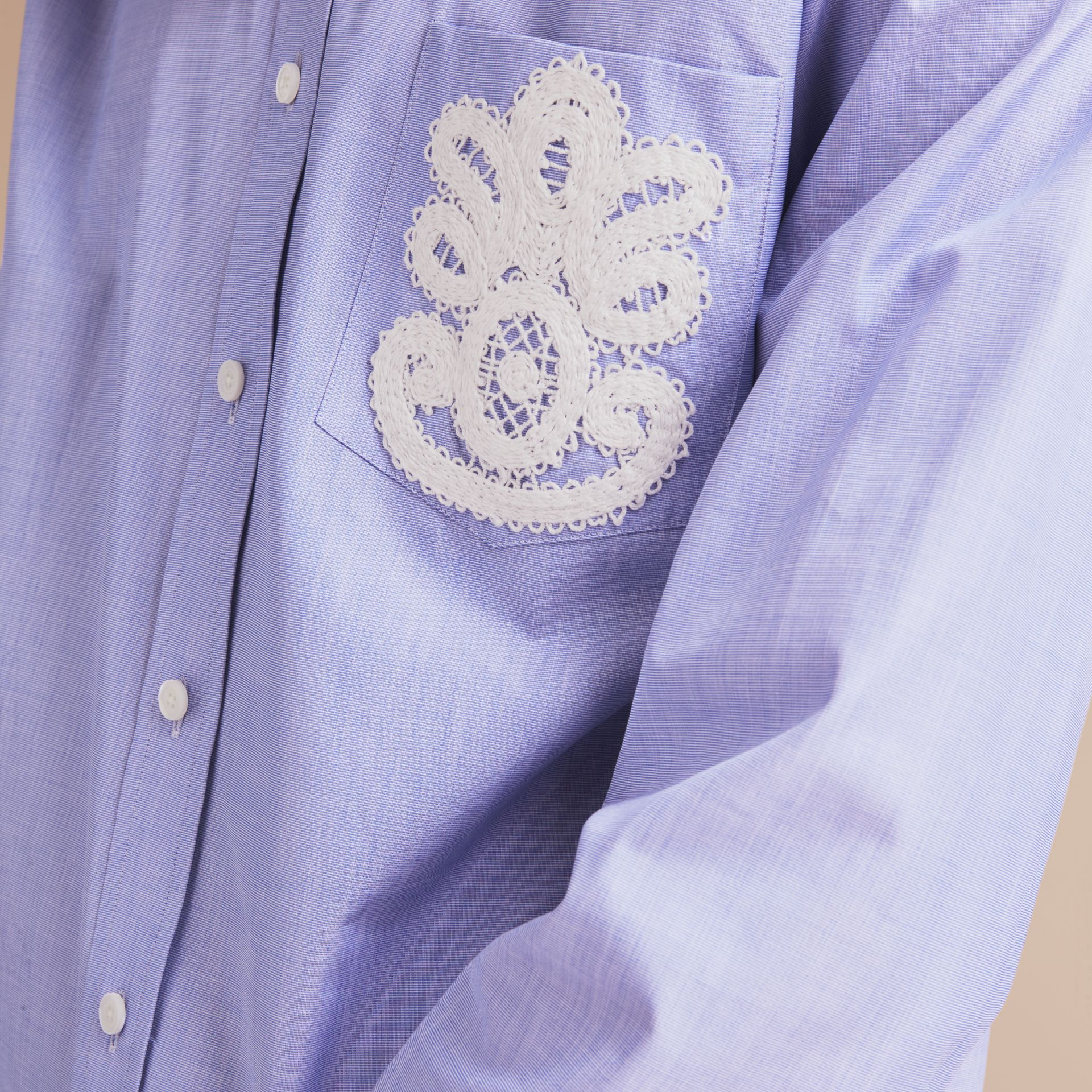 Lace Appliqué Cotton Shirt in Mid Indigo - Men | Burberry - gallery image 5