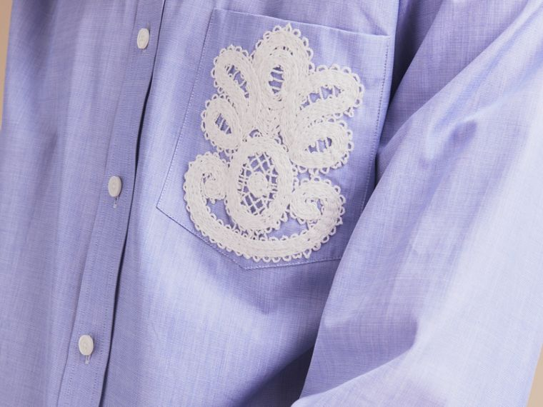 Lace Appliqué Cotton Shirt in Mid Indigo - Men | Burberry - cell image 4