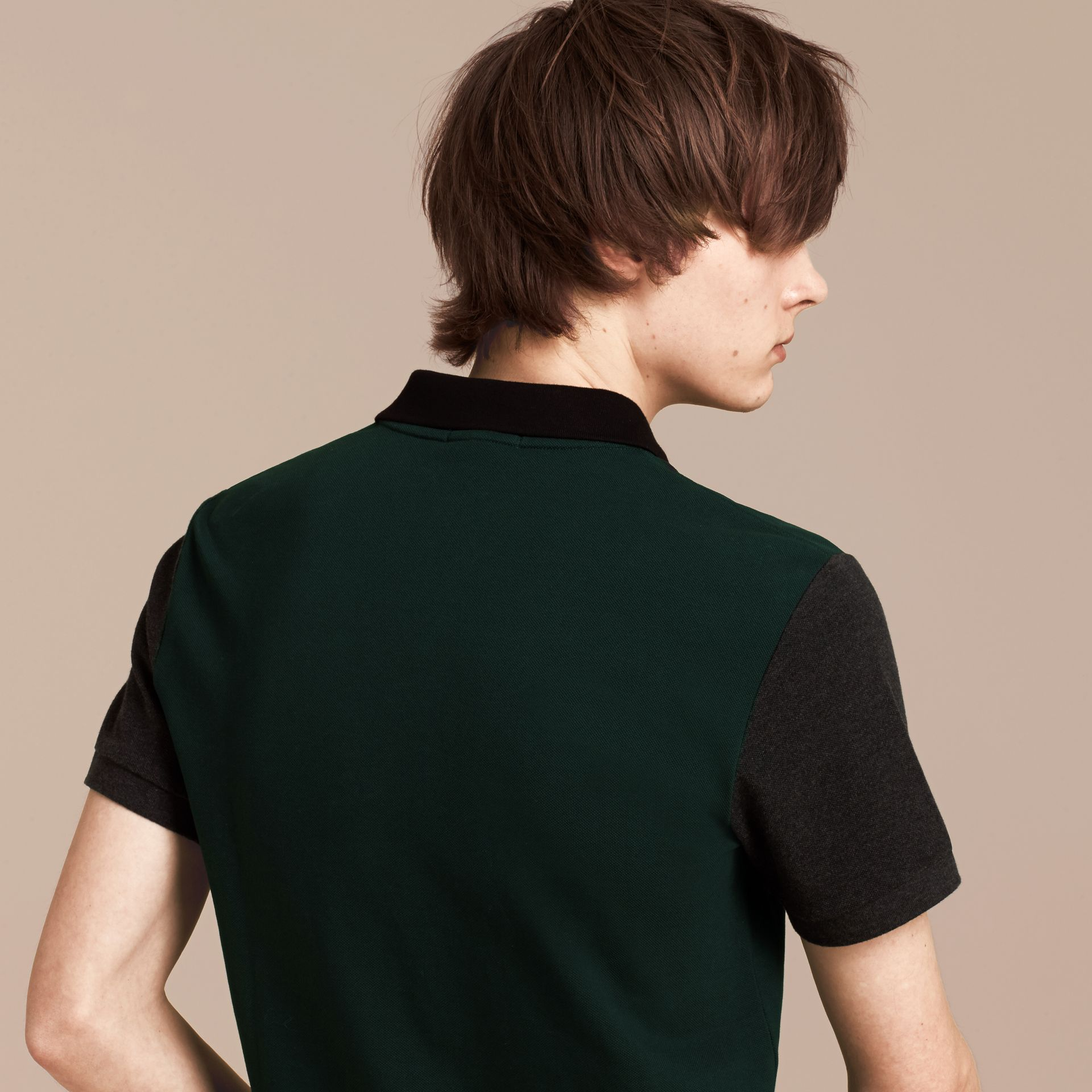 Racing green Colour-block Cotton Piqué Polo Shirt Racing Green - gallery image 3