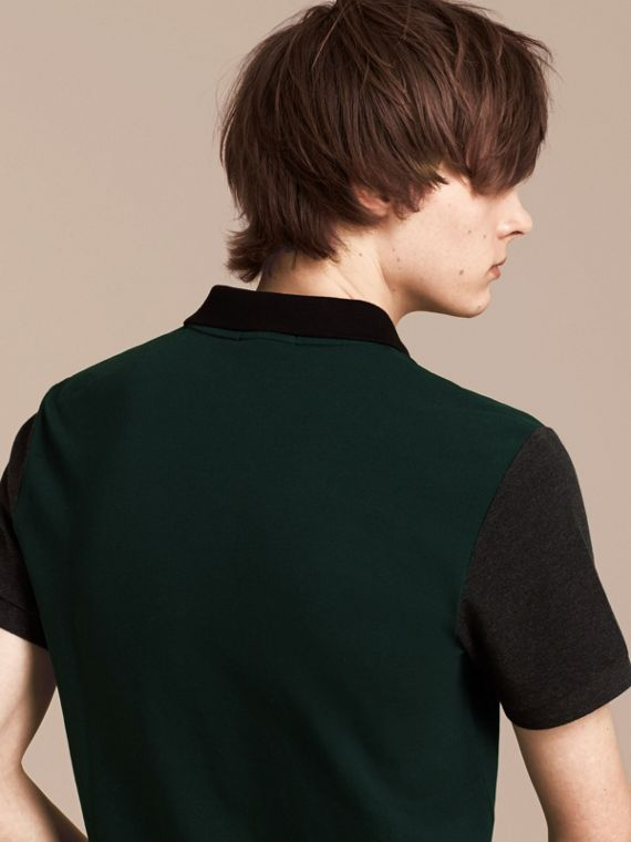 Racing green Colour-block Cotton Piqué Polo Shirt Racing Green - cell image 2