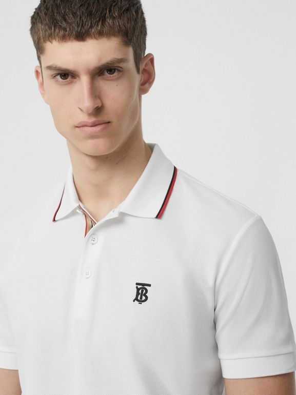 Icon Stripe Placket Cotton Piqué Polo Shirt in White - Men | Burberry - cell image 1