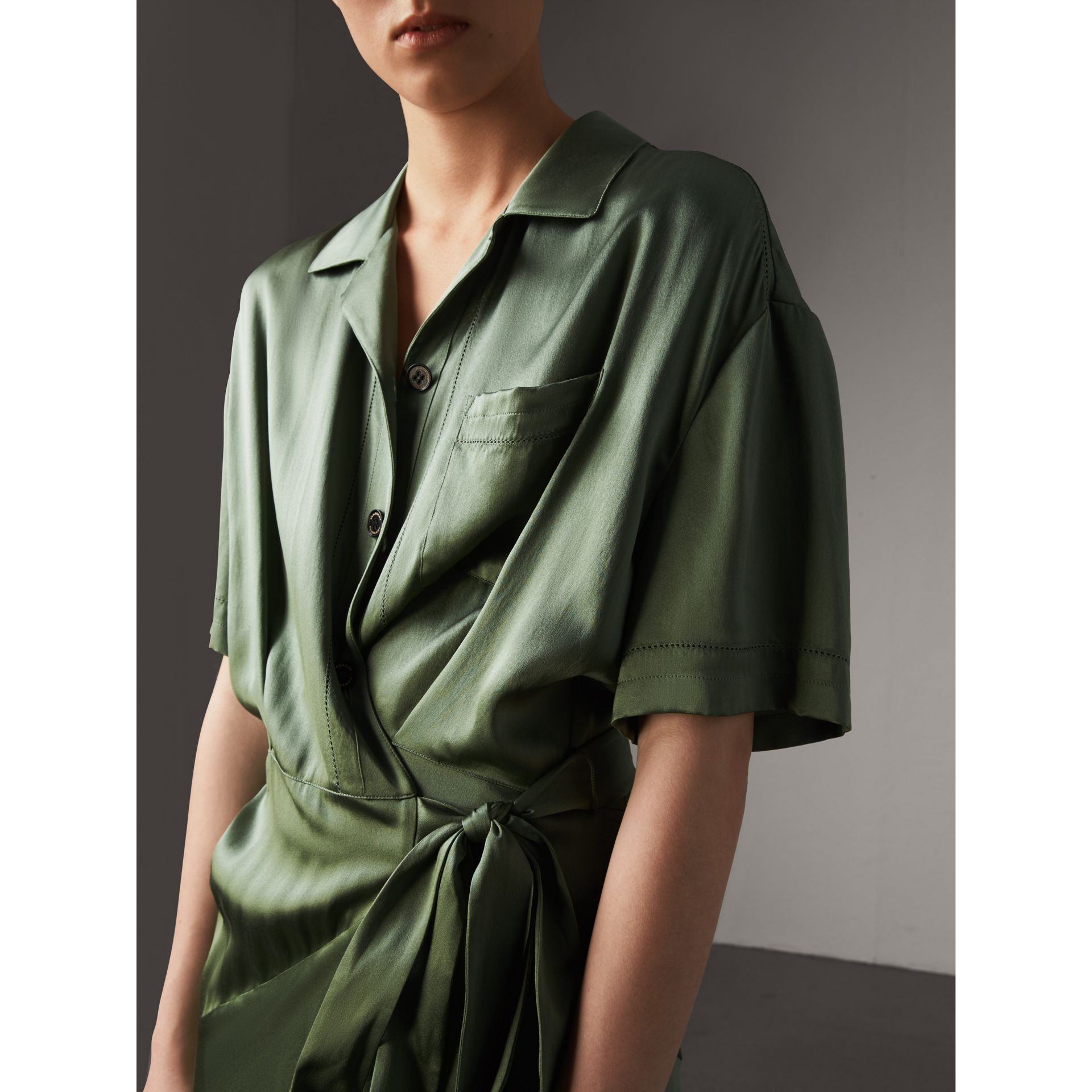 Washed Silk Satin Tie-waist Shirt Dress in Forest Green - Women | Burberry - gallery image 2