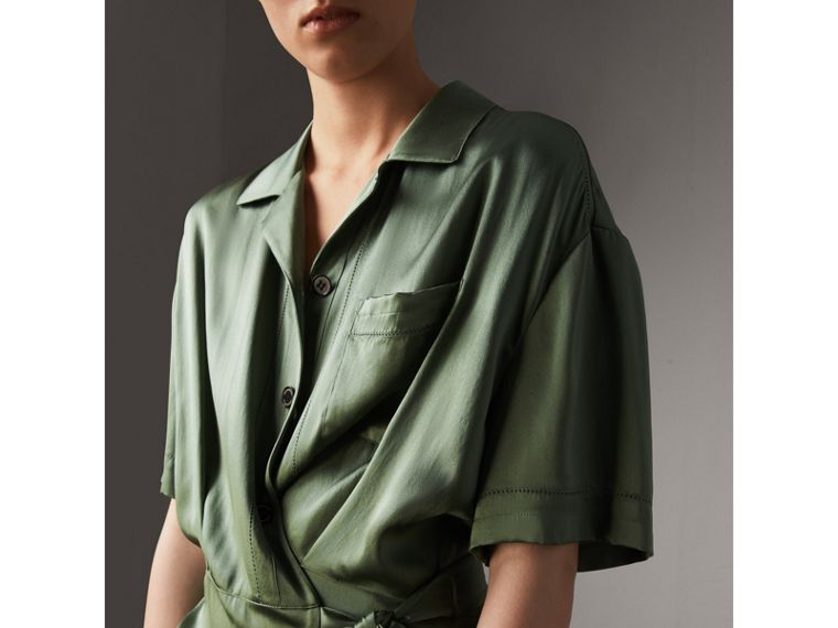 Washed Silk Satin Tie-waist Shirt Dress in Forest Green - Women | Burberry - cell image 1