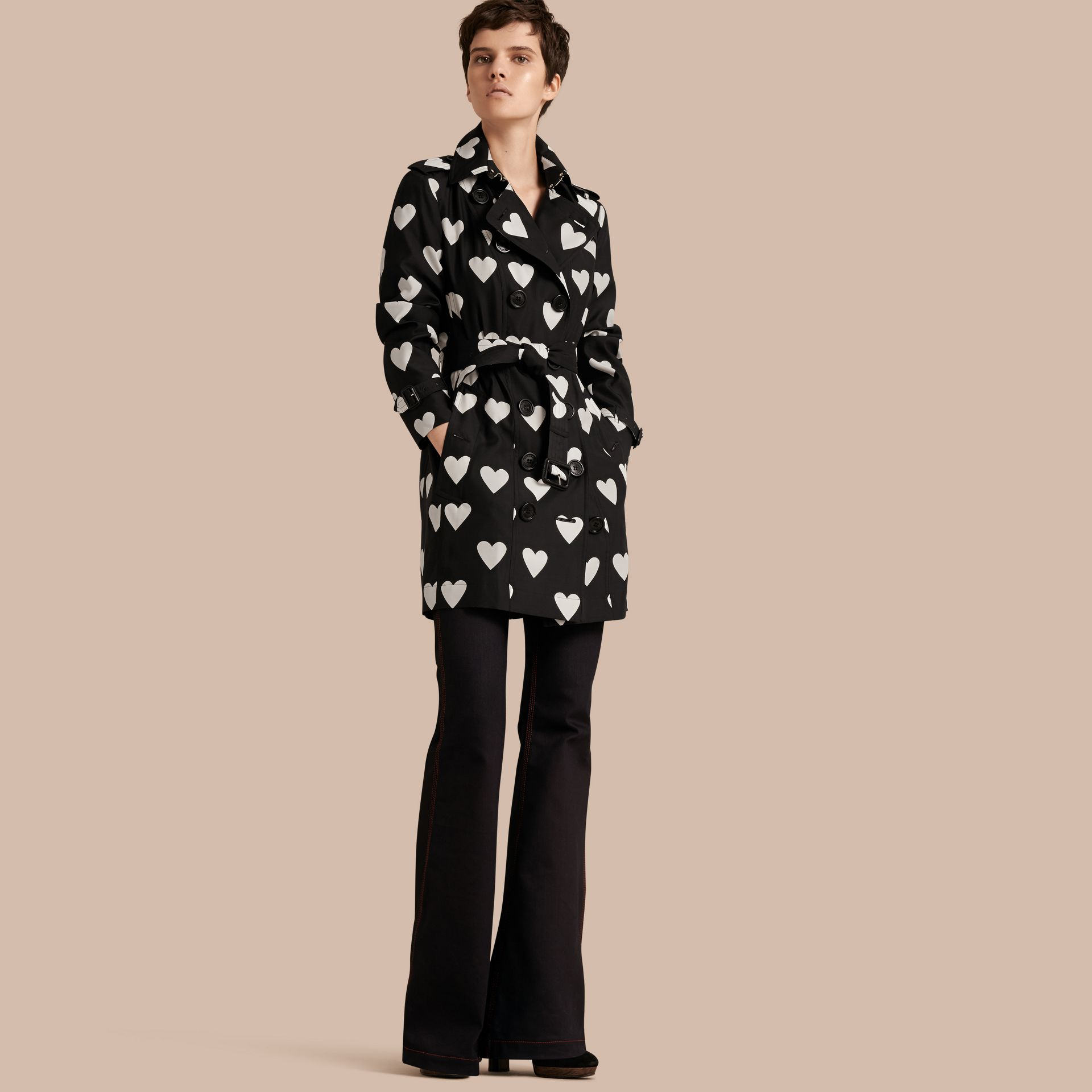 Black / white Lightweight Heart Print Silk Wool Trench Coat - gallery image 1