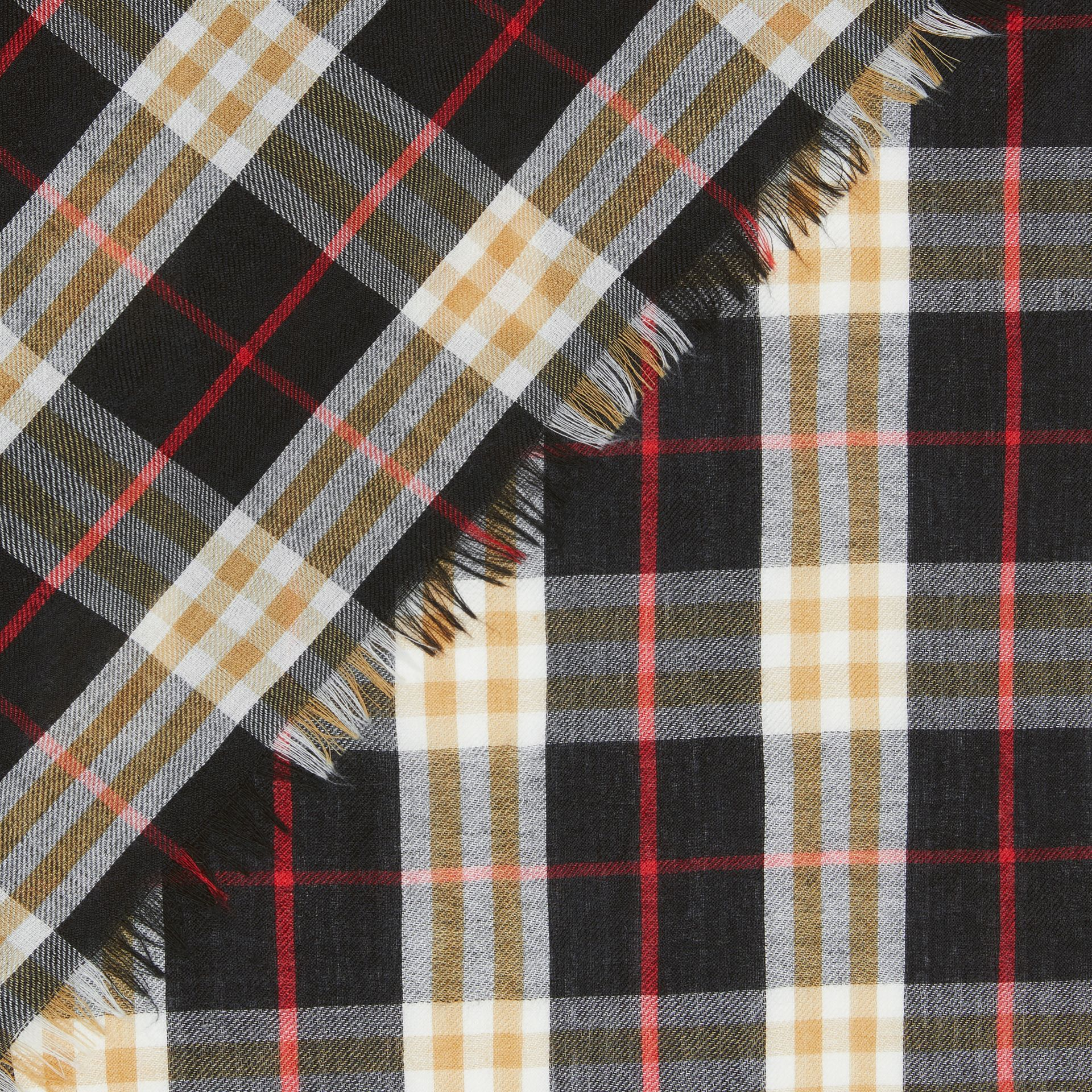 Vintage Check Lightweight Cashmere Scarf in Black | Burberry United Kingdom - gallery image 1