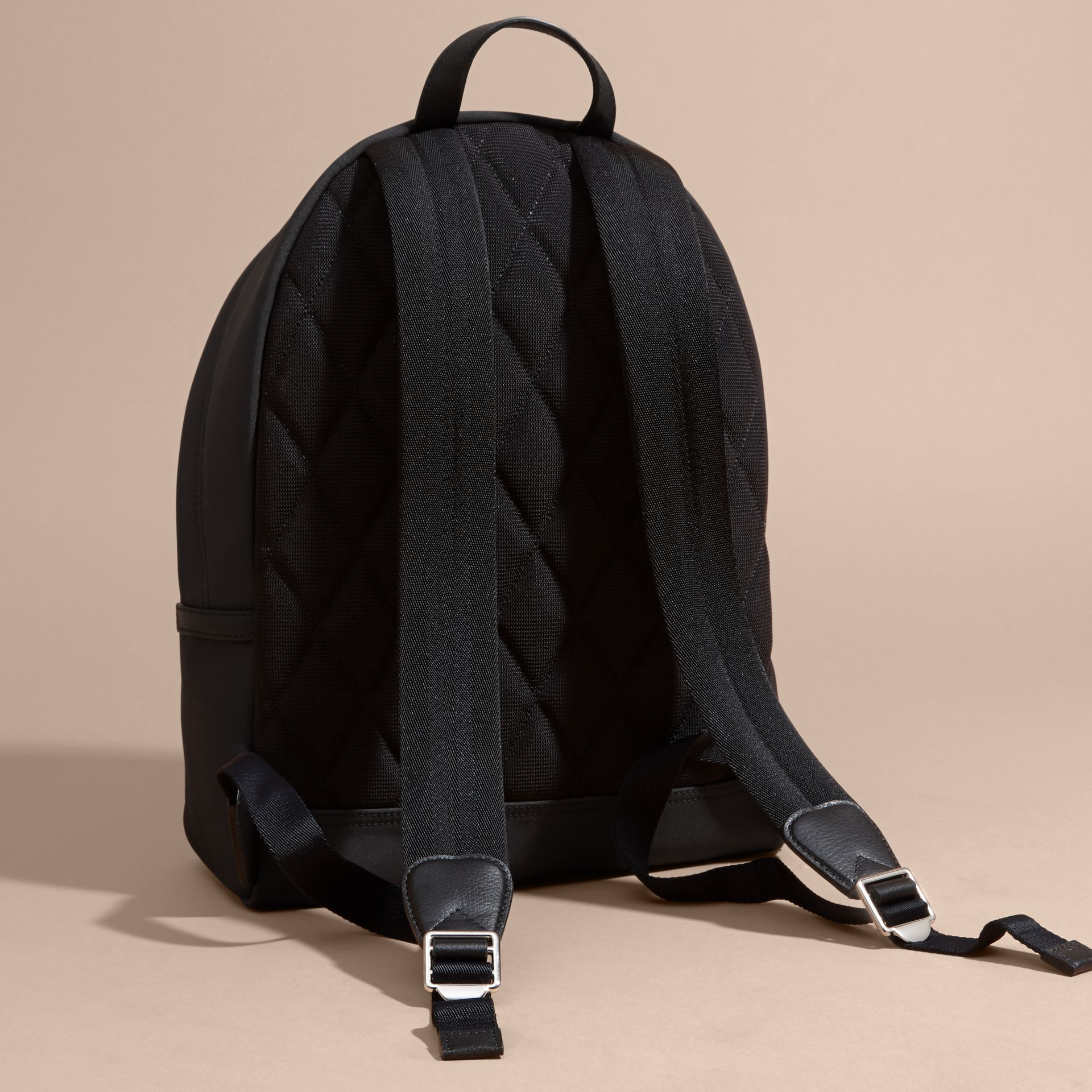 Leather Trim Technical Backpack Black - gallery image 4