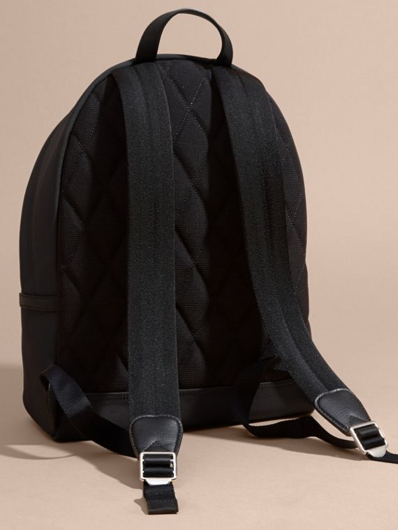 Leather Trim Technical Backpack in Black - cell image 3