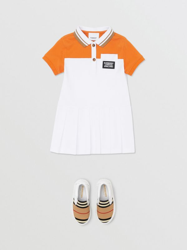 Colour Block Cotton Polo Shirt Dress in Bright Mandarin - Children | Burberry United Kingdom - cell image 2