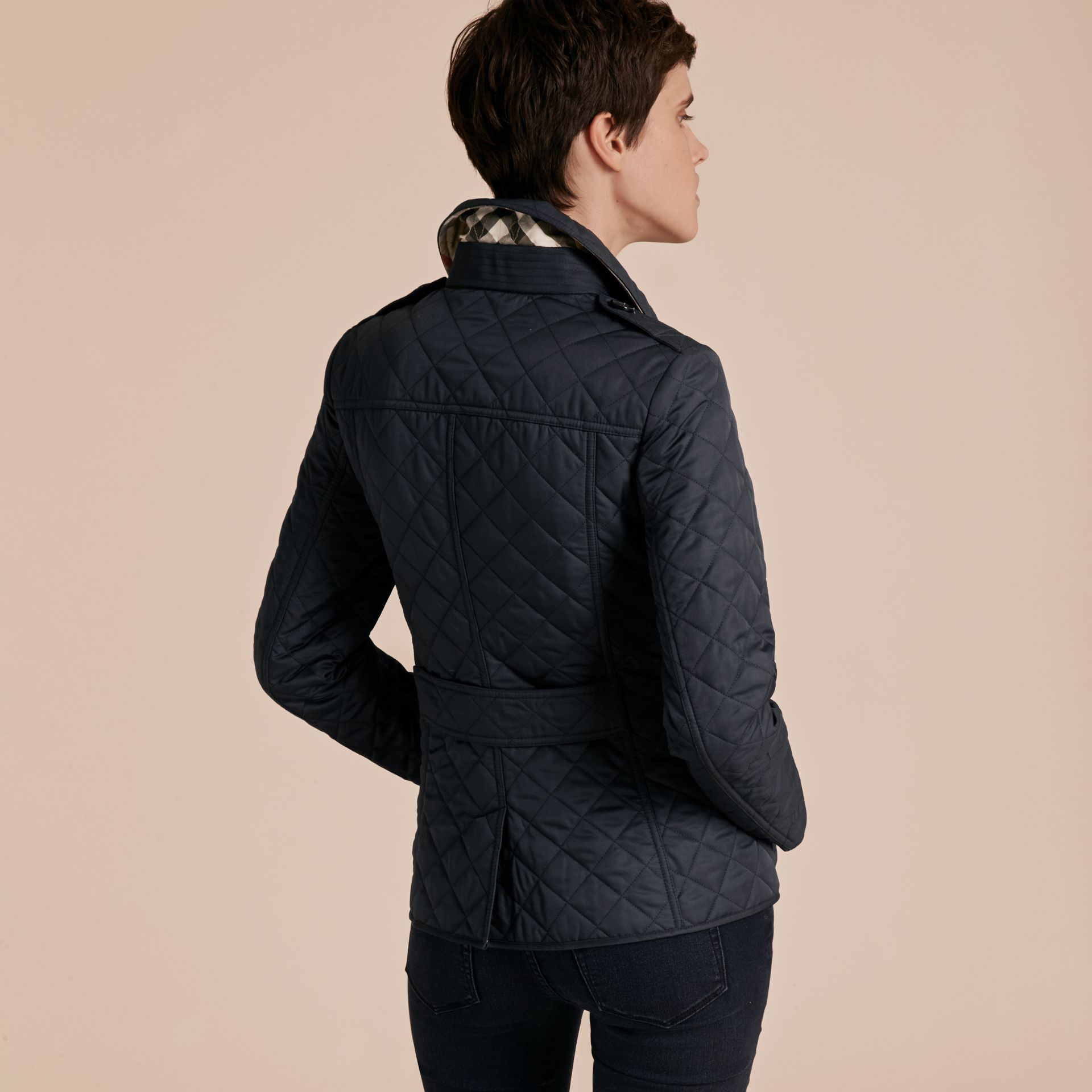 Navy Diamond Quilted Jacket Navy - gallery image 3