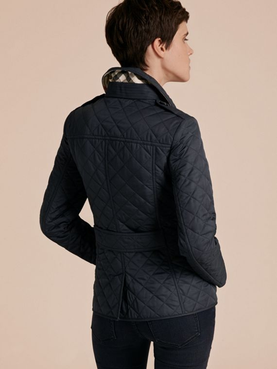 Navy Diamond Quilted Jacket Navy - cell image 2