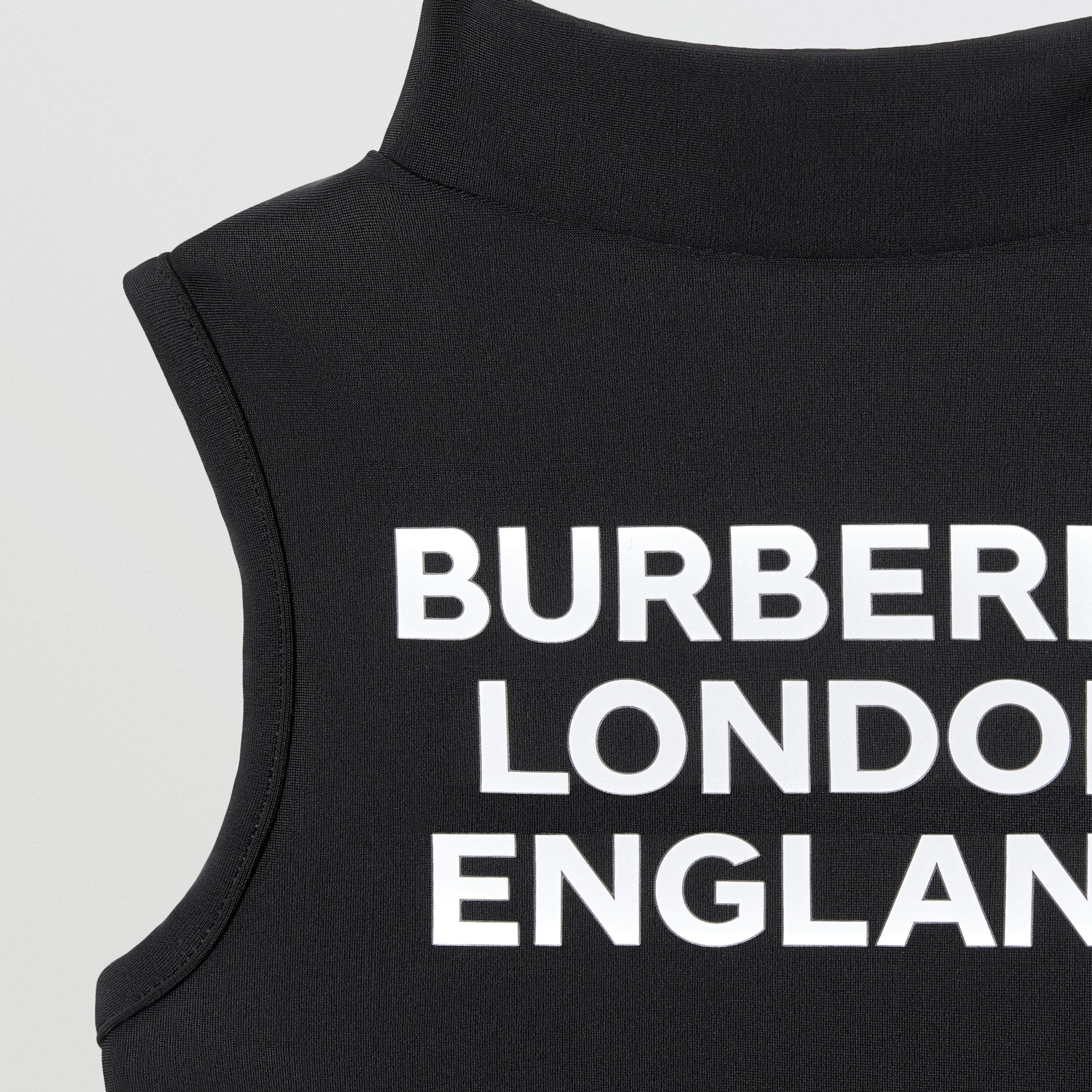 Logo Print One-piece Swimsuit in Black | Burberry Australia - 4