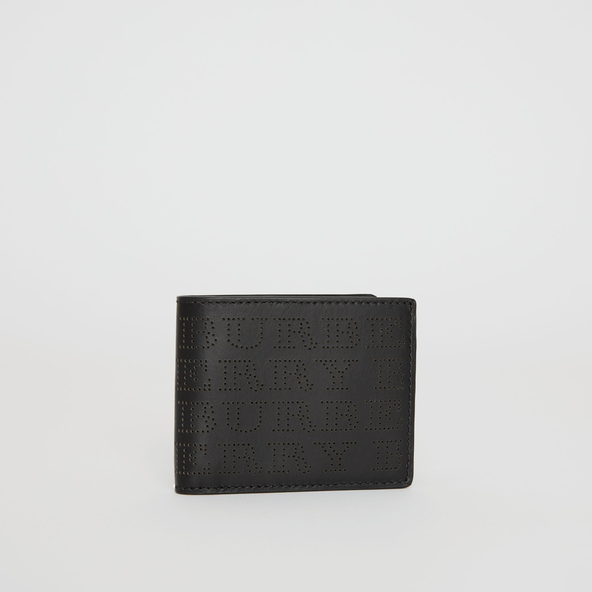 Perforated Logo Leather Bifold Wallet in Black - Men | Burberry - gallery image 3