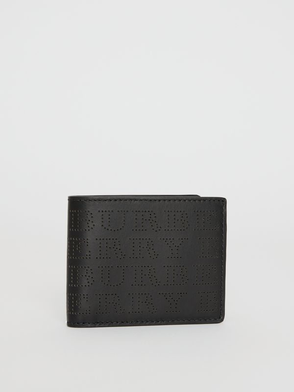 Perforated Logo Leather Bifold Wallet in Black - Men | Burberry - cell image 3