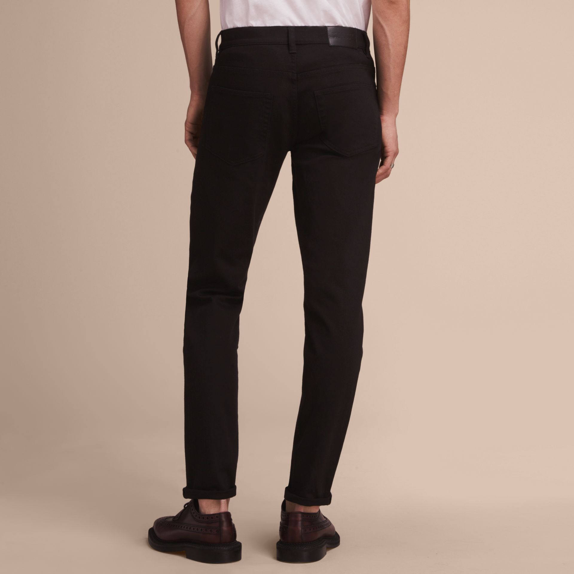 Relaxed Fit Stretch Jeans in Black - Men | Burberry - gallery image 3