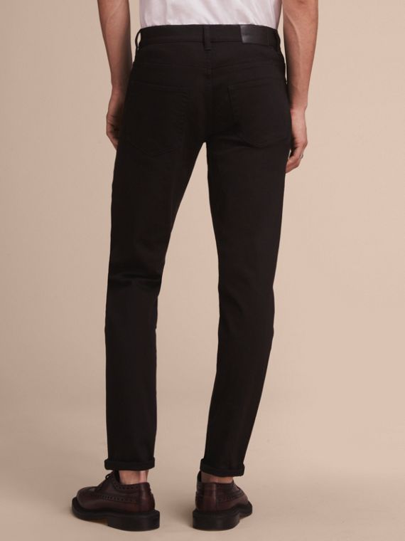 Relaxed Fit Stretch Jeans in Black - Men | Burberry - cell image 2