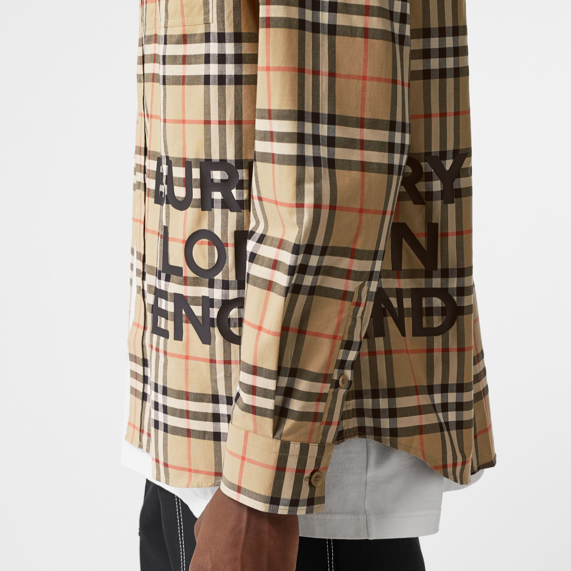 Logo Print Check Cotton Oversized Shirt in Archive Beige - Men | Burberry - gallery image 1