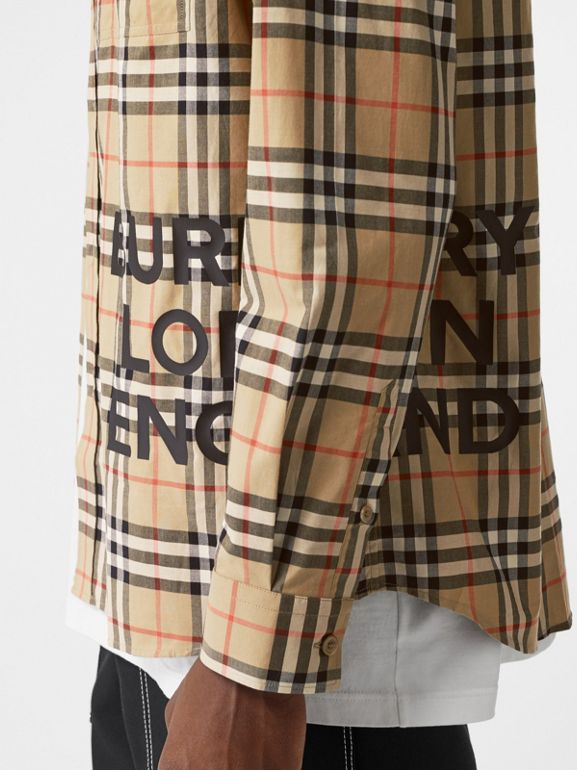 Logo Print Check Cotton Oversized Shirt in Archive Beige - Men | Burberry - cell image 1