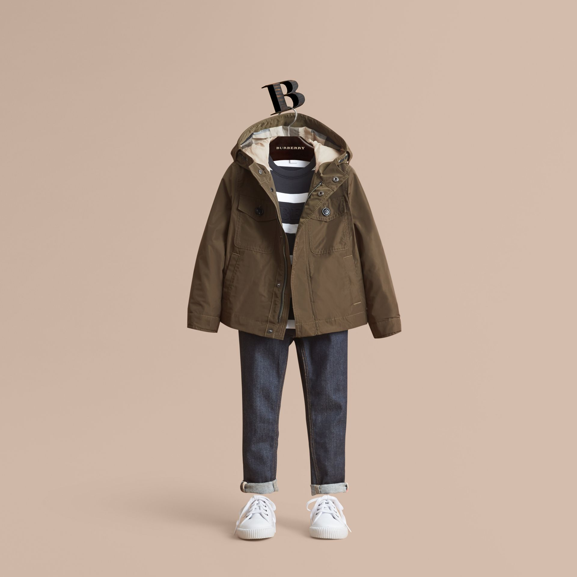 Hooded Field Jacket in Khaki - Boy | Burberry - gallery image 1