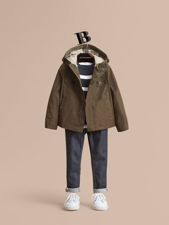 Hooded Field Jacket in Khaki - Boy | Burberry Australia