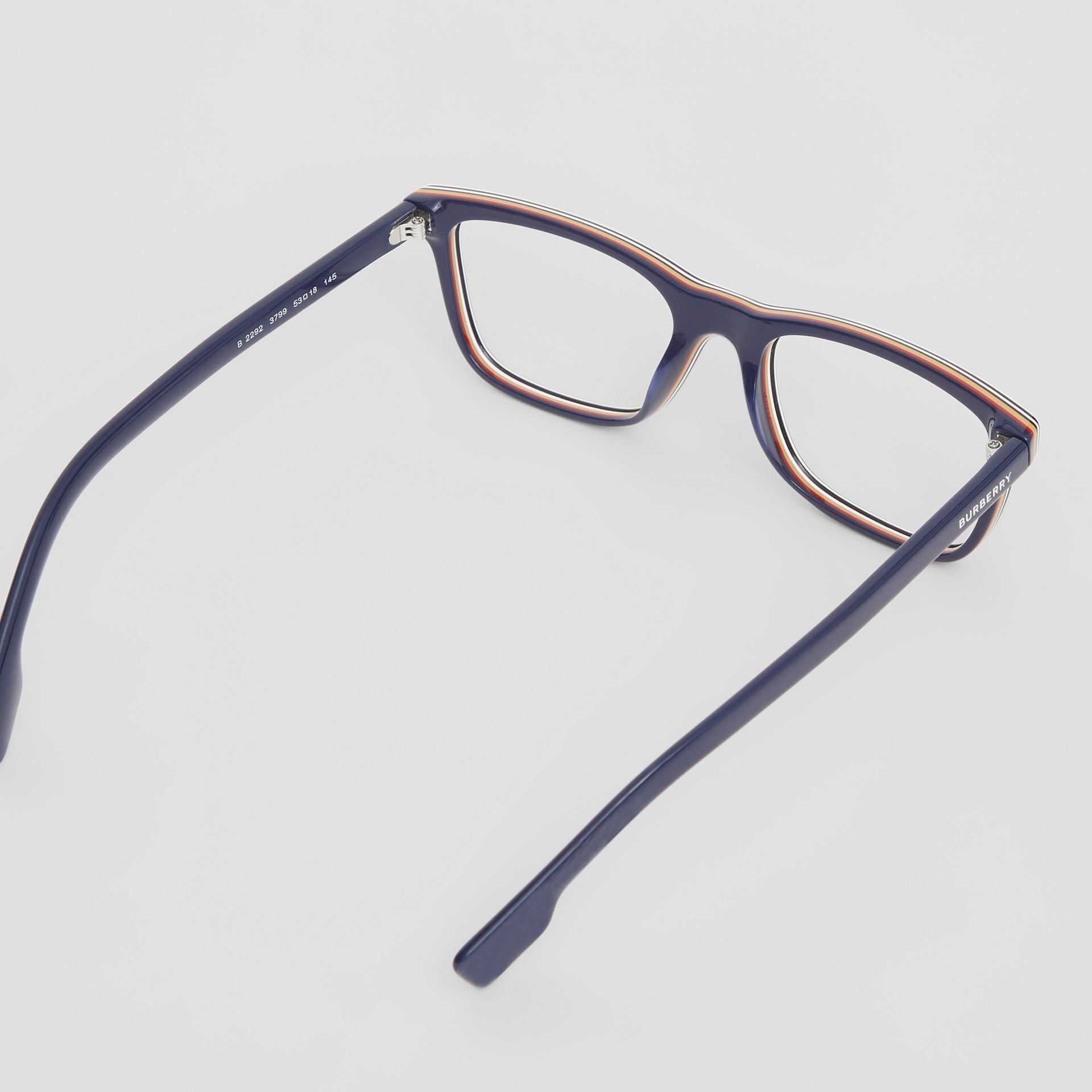 Icon Stripe Detail Rectangular Optical Frames in Blue - Men | Burberry - gallery image 3