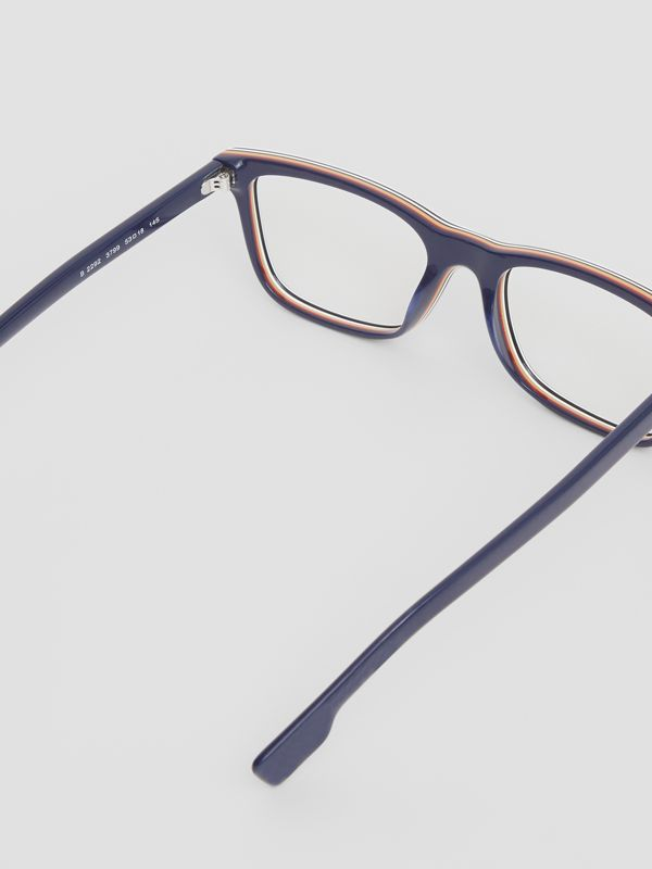 Icon Stripe Detail Rectangular Optical Frames in Blue - Men | Burberry United Kingdom - cell image 3