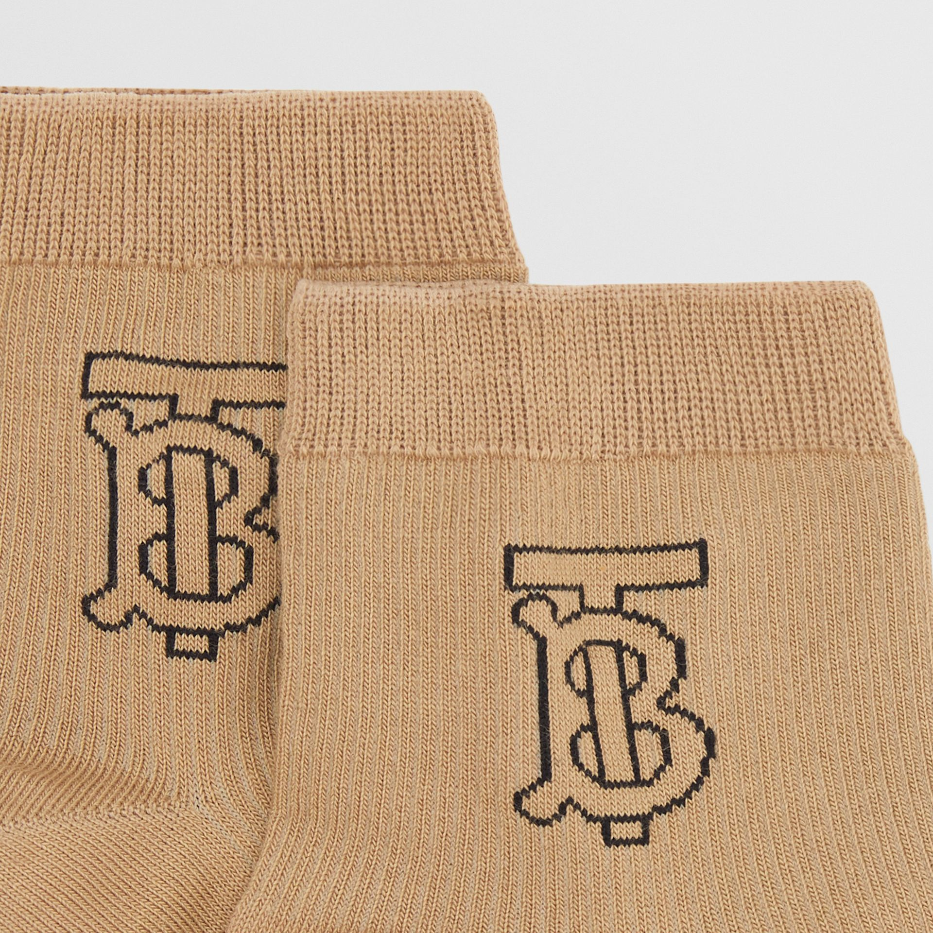 Monogram Intarsia Socks in Archive Beige | Burberry - gallery image 1