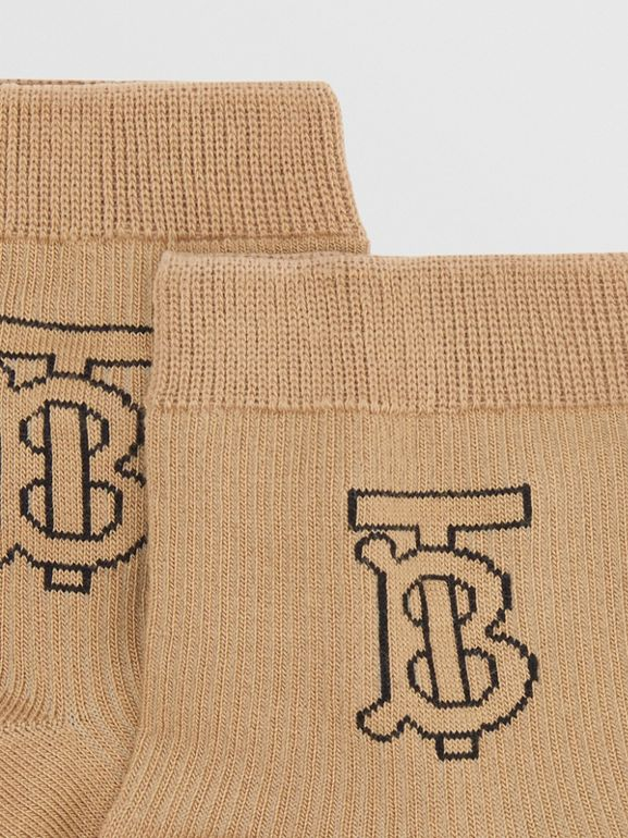 Monogram Intarsia Socks in Archive Beige - Women | Burberry - cell image 1