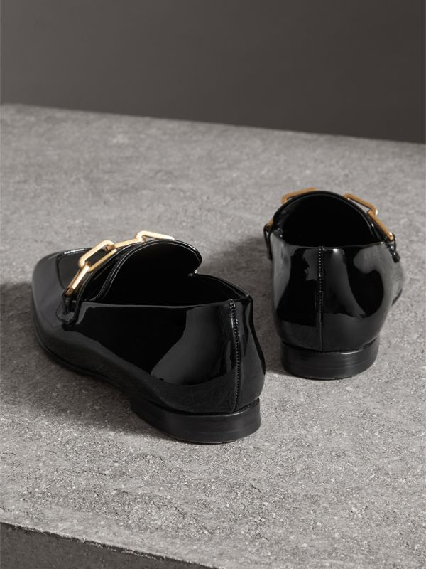 Link Detail Patent Leather Loafers in Black - Women | Burberry Hong Kong - cell image 3