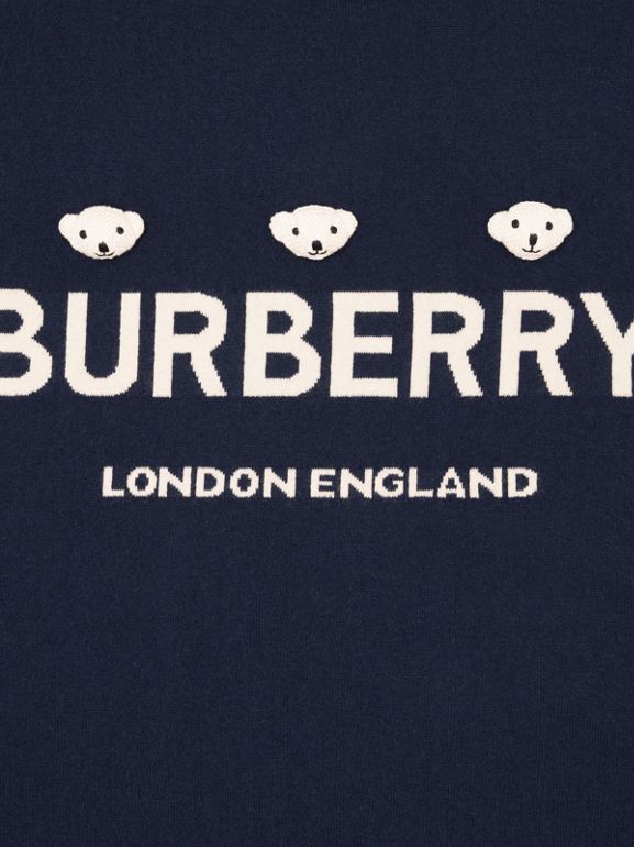 Thomas Bear Detail Wool Cashmere Baby Blanket in Navy - Children | Burberry Singapore - cell image 1