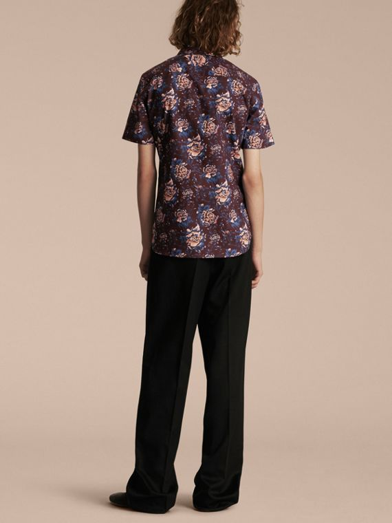 Deep claret Short-sleeved Peony Rose Print Cotton Shirt - cell image 2