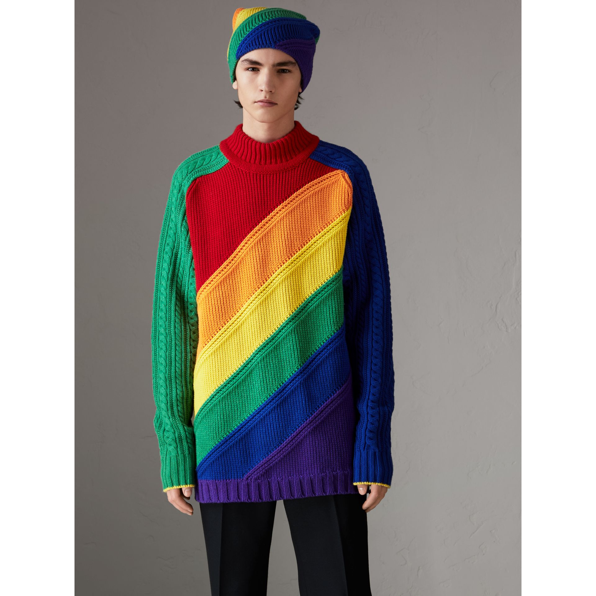 Rainbow Wool Cashmere Sweater | Burberry Singapore - gallery image 4