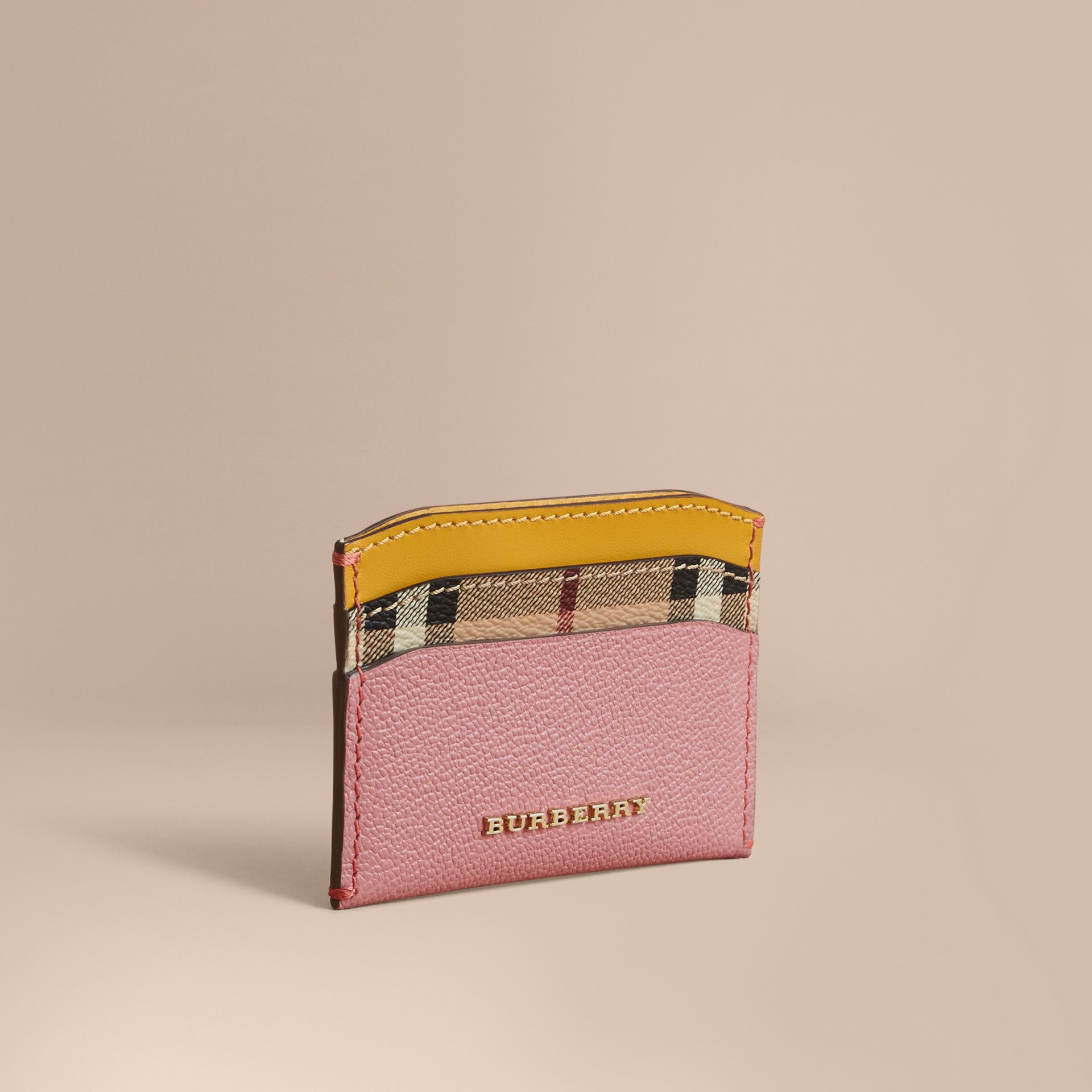 Colour Block Leather and Haymarket Check Card Case in Dusty Pink / Multi - Women | Burberry - gallery image 1