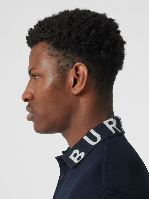 Logo Intarsia Cotton Piqué Polo Shirt in Navy - Men | Burberry - cell image 1