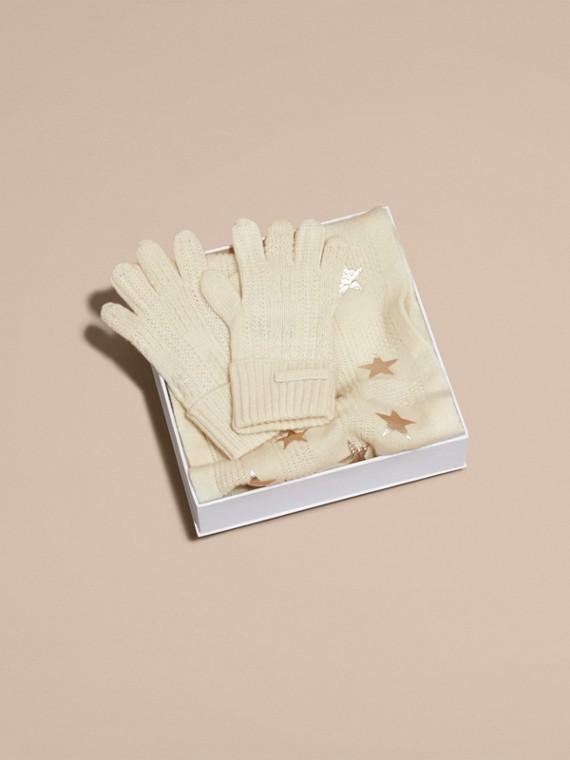 Avorio/oro Set regalo da due pezzi in cashmere con stampa - cell image 3